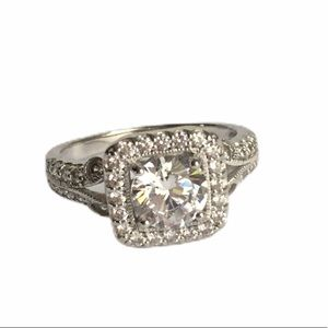Vintage Style Diamonque Halo Ring Sterling Silver
